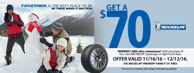 Michelin Get a $70 Mastercard with Purchase of Four New Tires