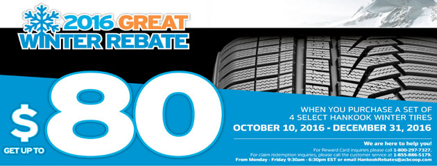Hankook $80 2016 Great Winter Rebate