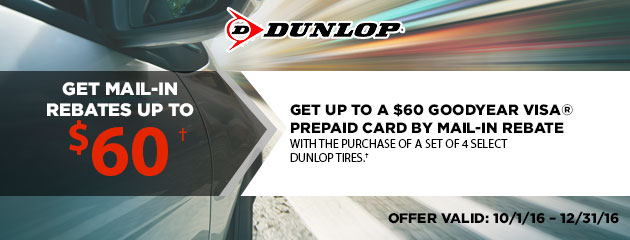 Dunlop Get Up to $60 via Mail-In Rebates
